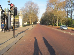Our shadows as we walked along Green Park