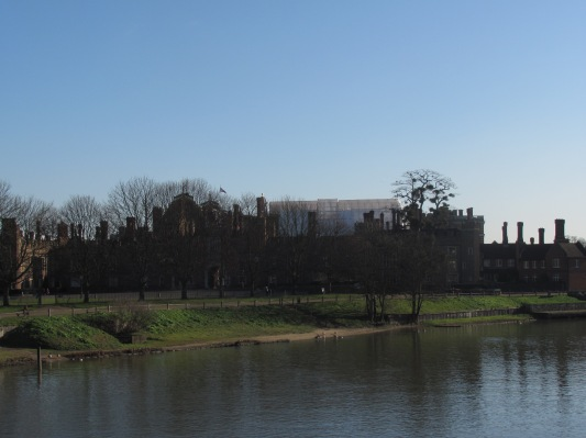 The view of Hampton Court from the bridge over the Thames River