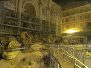 Scaffolded Trevi fountain